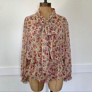 Zara Sheer Floral Long Sleeve Tie Neck (L)